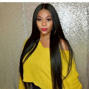 Human Hair Blend front lace with baby hair wig